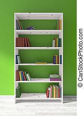 witte , houten, boekenkast, met, velen, boekjes , groene, wall.