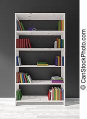 witte , houten, boekenkast, met, velen, boekjes