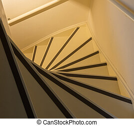 witte , houten, trap, met, rood, matten
