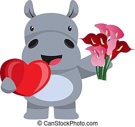 witte , illustratie, nijlpaard, liefde, vector, achtergrond.
