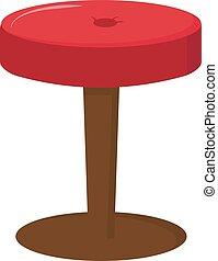 witte , illustratie, rode stoel, vector, achtergrond.
