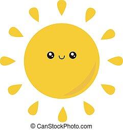 witte , illustratie, schattig, zon, vector, achtergrond.