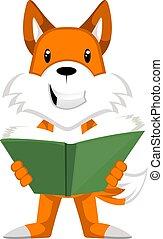 witte , illustratie, vos, lezende , vector, boek, achtergrond.