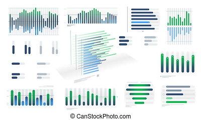 witte , infographic, blauwe-groen, diagrammen, achtergrond