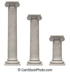 witte , ionisch, kolommen