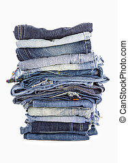 witte , jeans, stapel, achtergrond