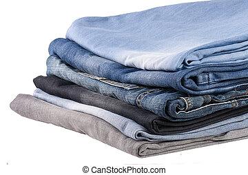 witte , jeans, vrijstaand, achtergrond, stapel