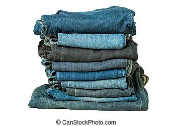 witte , jeans, vrijstaand, stapel