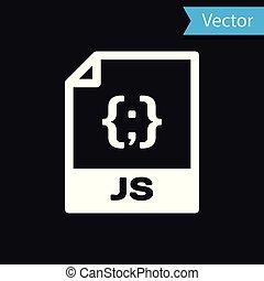 witte , js, bestand, document, icon., downloaden, js, knoop, pictogram, vrijstaand, op, black , achtergrond., js, bestand, symbool., vector, illustratie