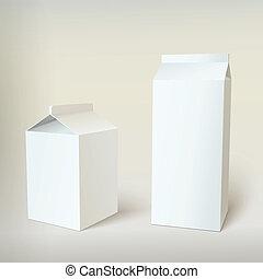 witte , karton, melk, pakketten, leeg