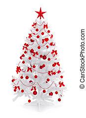 witte kerst boom, met, rood, versiering