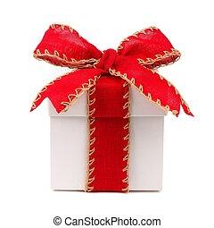 witte kerst, giftdoos, met, rode boog, en, lint, vrijstaand