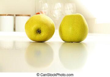 witte , keuken, twee, gele, appeltjes