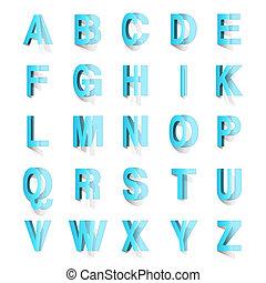 witte , knippen, set, alfabet, uit