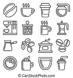 witte koffie, set, achtergrond., stijl, vector, lijn, iconen