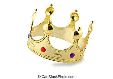 witte , kroon, vrijstaand, goud