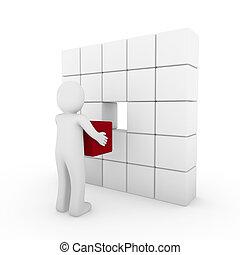 witte kubus, menselijk, rood, 3d