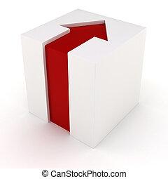 witte kubus, rode pijl, 3d