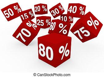 witte kubus, verkoop, rood, 3d