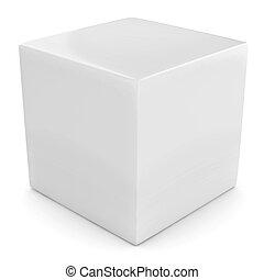 witte kubus, vrijstaand, 3d