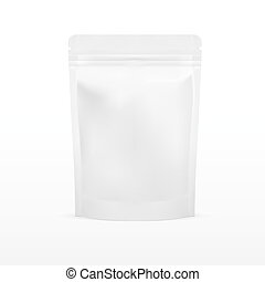 witte , leeg, folie, voedingsmiddelen, doy, troep, opstaan, zak, zak, verpakking, met, zipper., illustratie, vrijstaand, op wit, achtergrond., spotten, op, mockup, mal, gereed, voor, jouw, design.