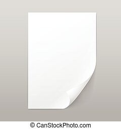 witte , leeg, papier, pagina, blad, met, hoek, krul
