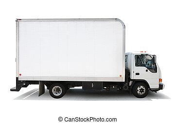 witte , levering truck, vrijstaand, op wit, achtergrond,...