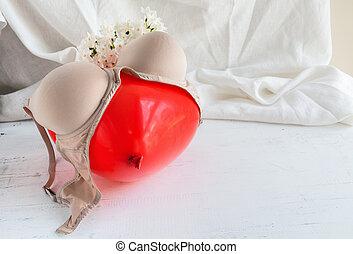 witte , lingerie bustehouder, bloemen, thong