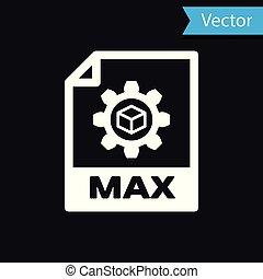 witte , max., bestand, document, icon., downloaden, max., knoop, pictogram, vrijstaand, op, black , achtergrond., max., bestand, symbool., vector, illustratie
