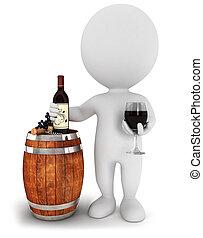 witte , mensen, wijntje, 3d, proeft