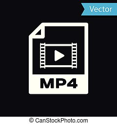 witte , mp4, bestand, document, icon., downloaden, mp4, knoop, pictogram, vrijstaand, op, black , achtergrond., mp4, bestand, symbool., vector, illustratie