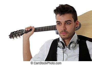 witte , musicus, jonge, vrijstaand