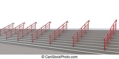 witte , nergens, trap, handrails