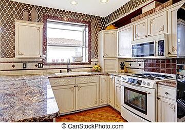 Kamer kleuren contrast interieur wit rood keuken antieke