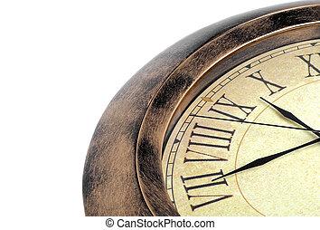 witte , oud, vrijstaand, achtergrond, klok