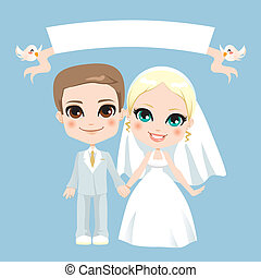 witte , paar, trouwfeest