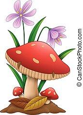 witte , paddenstoel, spotprent, achtergrond, vrijstaand