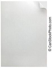witte pagina, krul, achtergrond, vrijstaand, op wit