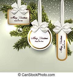 witte , papier, cadeau, kaarten, met, satijn, bows.