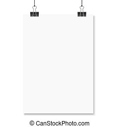 witte , papier, met, binder, klemmen