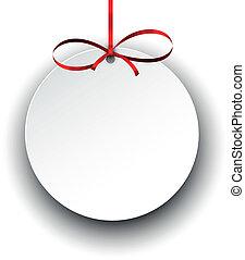 witte , papier, schenking kaart, met, rood, satijn, bow.