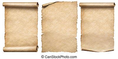 witte , parchments, of, set, papier, vrijstaand, ouderwetse , rollen