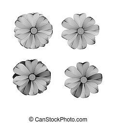 witte , patte, black , bloem, lined