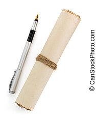witte , perkament, boekrol