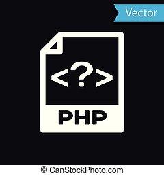 witte , php, bestand, document, icon., downloaden, php, knoop, pictogram, vrijstaand, op, black , achtergrond., php, bestand, symbool., vector, illustratie