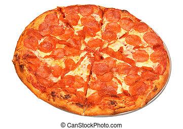 witte , pizza, vrijstaand, achtergrond, pepperoni