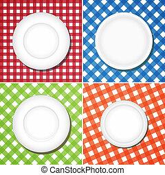 witte , platen, op, checkered tafelkleed