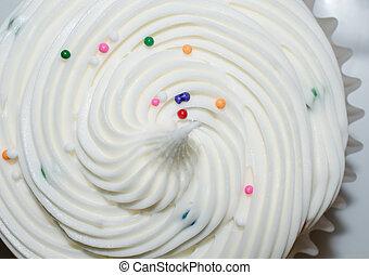 witte , pluizig, glazuur, met, kleurrijke, bestrooit