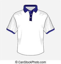 witte , polo hemd, ontwerp, met, donker, b