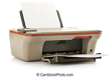witte , printer, computer, vrijstaand, achtergrond